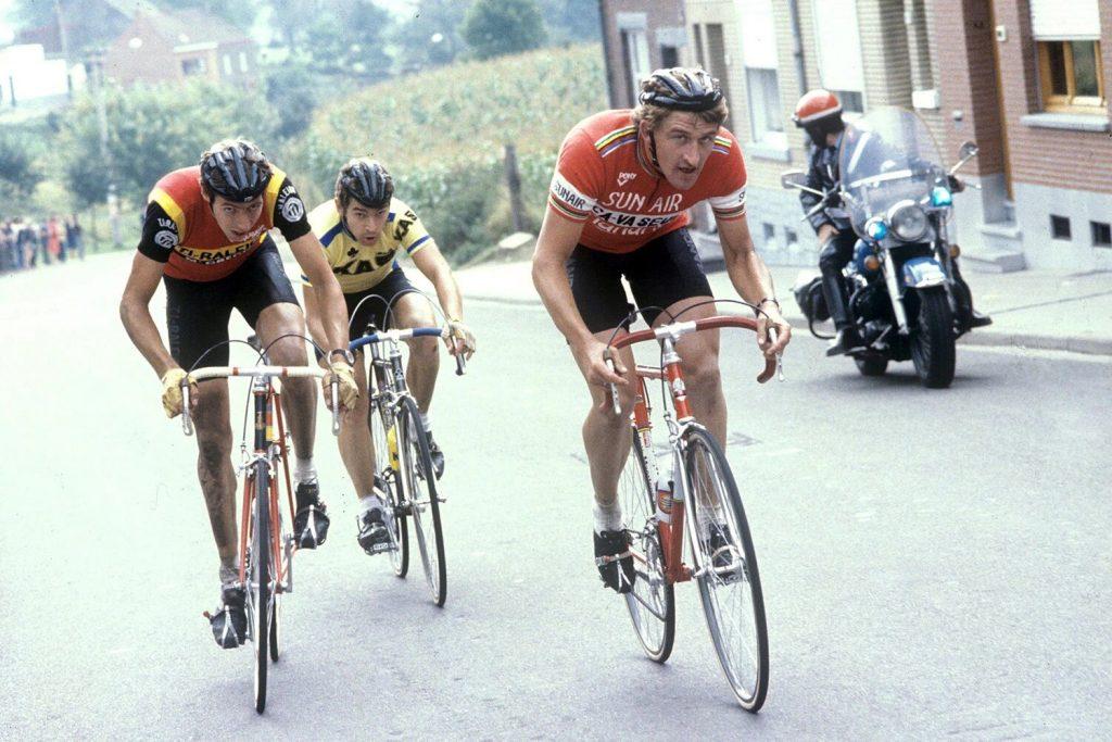 Freddy Maertens all'Amstel Gold Race 1979, al suo fianco quel mattocchio di Johan Van der Velde.