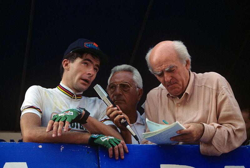 Adriano De Zan intervista Gianni Bugno, dominatore del Giro del Lazio 1992.